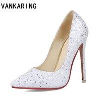 payetli elbise ayakkabıları toptan satış-Toptan seksi yüksek topuklu bayanlar parti düğün ayakkabı kadın pompaları marka ayakkabı bayanlar gümüş payetli kumaş sonbahar ...