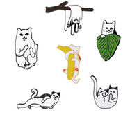 Wholesale girls pussy - 2018 New arrival Cute girl Pose different pussy cat Brooch Clothing accessories Pins Party Prom Women pin Free shipping 79