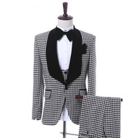 Wholesale cotton cloth made resale online - Black Plaid Cloth Men Suits Three Piece Jacket Pants Vest Classic Fit One Button Wedding Groom Tuxedos Custom Made