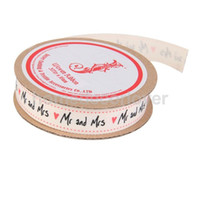 Wholesale animal grosgrain ribbon - Wholesale- NEW 3 Yard 16mm Mr and Mrs Print Grosgrain Ribbons Wedding Party Decor Beige