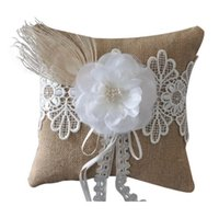 Wholesale Bridal Ring Pillows - 20*20CM Romantic Bridal Wedding Ring Pillow Ceremony Jute With Peacock Feathers Flower Ring Pillow Cushion Bridal Wedding Supplies