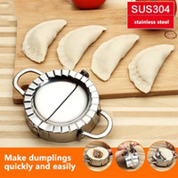 Wholesale ravioli mold - Stainless Steel Dumpling Maker Mold Dough Cooking Ravioli Making Mould Tool Wraper Dough Cutter Other Kitchen Tools FFA417