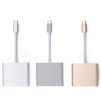 câble de concentrateur de chargeur usb otg achat en gros de-USB 3.1 Type-C à 4K HDMI USB-C AV numérique Multiport Adaptateur 3 en 1 Adaptateur HDMI4K OTG HUB USB 3.0 Chargeur pour Macbook 12 HD Câble de connexion