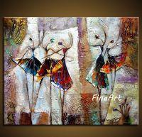 tanz wand leinwand großhandel-handbemalte abstrakte Ballett Tänzer Ölgemälde tanzen Malerei Leinwand Kunstwerk Wand Kunst Leinwand einzigartige Geschenke Kung Fu Kunst