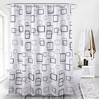 Wholesale modern white shower curtain resale online - black and white lattice digital printing waterproof thickening shower curtains for bathroom with Plastic clasp Bathroom Accessories for Bath