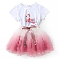 Wholesale Tulle Skirt Baby Girl - Baby girls Flamingos outfits children top+lace Tulle skirts 2pcs set 2018 Summer suits kids Clothing Sets 2 colors C4349
