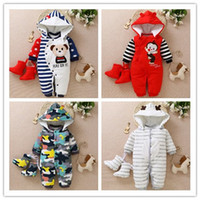 Wholesale animal hoodies for babies for sale - Group buy fashion baby romper winter newborn warm thick hoodies snowsuit for toddle cotton cartoon jumpsuit outfits bebe clothing