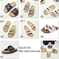 Wholesale cork adhesive - Wholesale Summer women luxury beach cork Slippers Casual Sandals Sequins Slides Double Buckle Clogs Women Slip on Flip Flops Flats Shoe