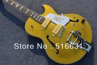 elektrische jazzgitarre f löcher großhandel-Freies Verschiffen Großverkauf neues gelbes F - Lochhohlkörper Jazz-E-Gitarre