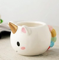 Wholesale mugs for kids - Cute Ceramics 3D Cups Unicorn Creative Coffee Cup New Year Gift For Children Birthday Water Tea Mug for kids