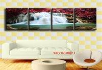 moderne kunstsaison großhandel-Jahreszeiten Herbst Wasserfälle, 4 STÜCK Stücke Wohnkultur HD gedruckt moderne Kunst Malerei auf Leinwand