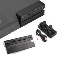 ps4 usb hub оптовых-USB-концентратор с 3.0 высокоскоростной 2.0 USB-адаптер для Playstation 4 USB-концентратор расширить порт + PS4 контроллер двойной зарядки док-станция