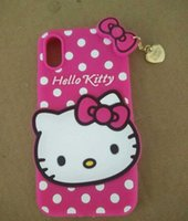 Wholesale hello kitty cat cartoon resale online - 3D Cartoon Hello Kitty Cat Phone Case Soft Silicone Back Cover with Pendant Love Cat Soft Silicone Heart Cover Case with iphone x s9 s9plus