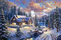 ingrosso thomas kinkade riproduzione tela-Thomas Kinkade di paesaggio di alta Paese di Natale, pittura a olio di stampa di alta qualità di riproduzione Giclee su tela Modern Home Arte DecorT338