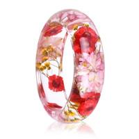 bracelet de fleurs séchées achat en gros de-2018 Nouveau Bracelet de résine de fleurs séchées Bracelet Real Flower Inside de Bracelet Bijoux meilleurs cadeaux pour femmes et amis