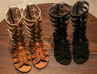 Wholesale Weaved Sandals - 2018 New Girls roman sandals children Bows hollow weave sandals kids high-boot campagus boots girls gladiator sandal shoes R2235