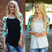 Wholesale Black Floral Tunic - Women floral raglans spring 3 4 sleeve printed shirt cotton big size girl tunic comfortable jersey