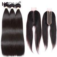 partie centrale des cheveux noirs achat en gros de-8a Vison Cheveux Raides Brésiliens 3 Bundles avec 2x6 Fermeture Brésilienne Vierge Fermeture de Cheveux Humains Pour Les Femmes Noires Dentelle Profond Partie Centrale Gratuit