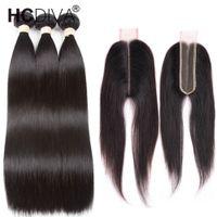 siyah saç orta kısmı toptan satış-8a Vizon Brezilya Düz Saç 3 Demetleri ile 2x6 Kapatma Siyah Kadınlar Için brezilyalı Virgin İnsan Saç Kapatma Dantel Derin Orta Kısmı Ücretsiz