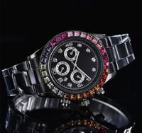 ingrosso orologio di diamanti neri-relogio masculino full diamond mens orologi lusso polso moda quadrante nero calendario automatico braccialetto d'oro chiusura pieghevole regali maschili maschile
