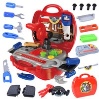 Wholesale play house set - 19 PCS Set Simulation Builders Role Play Tool Kit Children Kids Cosplay Construction Tool Box DIY Play House Building Kit Toy