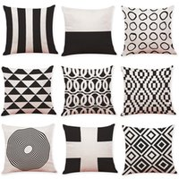 Wholesale Black and White Geometric Linen Cushion Cover Home Office Sofa Square Pillow Case Decorative Cushion Covers Pillowcases New inch