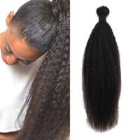 Wholesale bulks hair for cheap online - Bulk Human Hair for Braiding Cheap Mongolian Hair African American Kinky Straight Hair Bulk No Weft FDshine