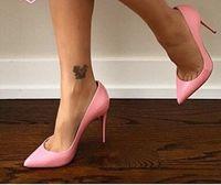 Wholesale Burgundy Stilettos - Wholesale Black Sheepskin Nude Patent Leather Poined Toe Women Pumps 8cm 10cm 12cm Fashion lRed Bottom High Heels Women Wedding shoes