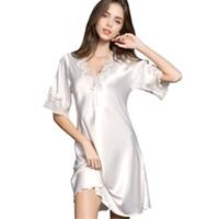 camisón de lenceria de seda al por mayor-Sexy mujeres ropa de dormir de satén de seda camisón de manga media bordado camisón lencería sexy más el tamaño S M L XL XXL camisón femenino