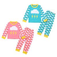 ingrosso pigiama unisex-Bambini pigiama nuvola set per 1-6 t 2 colori nuvole pioggia fulmine modello manica lunga maglietta + pantaloni ragazzi ragazze carino homewear set