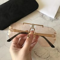 Wholesale frameless mirrored sunglasses resale online - Luxury Sunglasses For Women Popular Fashion Designer Goggle Designer UV protection Frameless Top Quality Come With Package