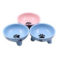 ingrosso ciotola per i gatti-Ciotola per cani in ceramica triangolare per cani Ciotole per gatti in ceramica per animali domestici Cioccolatini per cani cani Ciotole per cibo Ciotole per cani Ciotole per cani