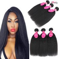 Wholesale brazilian yaki hair 1b - Brazilian Kinky Straight Yaki Human Hair Weave 8A Brazilian Virgin Hair Bundles 3 or 4 Pieces Wavy Hair Extensions Wave Weft Wholesale 1B#