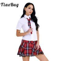japanese seksi üniforma okul toptan satış-TiaoBug Kadın Lingerie Japon Okul Kız Üniforma Kore Gömlek Mini Etek Kravat Kadınlar Seksi Cosplay Rol Oynamak Kostümleri