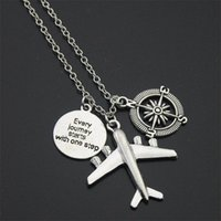 Wholesale Earth Globe Necklace - Handstamped Jewelry Journey Necklace Plane Globe Earth Compass Camera Passport Charms Necklace Travel Necklace For Gift