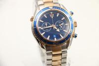 Wholesale New Agents - 2 Styles Mens Sport Diver Watch watches quartz movement wristwatch agent 007 favorite wristwatches rotatable bezel two tone steel band