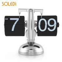 modern metal saat toptan satış-Kuvars Retro Çevirme Saat Dişli Otomatik Çevirme Masa Masa Saati Tek Matel Standı Modern Ev Dekor İç Dişli Kumandalı Siyah Sıcak