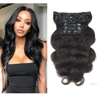 Wholesale short wave human hair extensions for sale - Group buy Wavy Clip in Real Hair Extensions Human Hair SHOWJARLLY Body Wave Short Remy Clip in Wavy Hair Extensions Double Weft