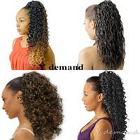 uzantılar için saç stilleri toptan satış-Moda Saç Aksesuarları Kısa Yüksek Spor At Kuyruğu Saç Siyah Kadınlar Için Afro Kinky Kıvırcık Pençe Ponytails Saç Uzantıları Y talep