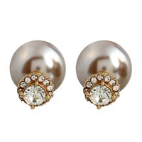 Wholesale Champagne Pearl Earrings - Europe and the United States popular fashion jewelry champagne earrings explosion models goddess pearl ear pin