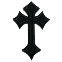 sombreros de jeans al por mayor-Parche de bordado negro Cruz de Jesús Coser hierro en parches bordados Insignias para bolso Jeans Sombrero Camiseta DIY Apliques Decoración artesanal