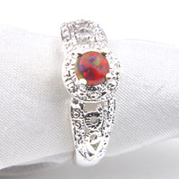 Wholesale wholesale jewelry 925 usa - Promotion Rings 10 Pcs Lot Bulk Holiday Jewelry Gift Party Newest Orange Fire Opal Gems 925 Sterling Silver Ring Usa Size 7 8