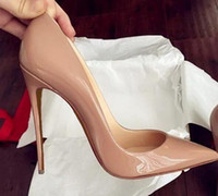 ingrosso scarpe alte in giallo-New Red Bottom scarpe tacco alto per donna 12 centimetri partito scarpe tacchi sottili slip-on scarpe da donna plus size giallo blu viola personalizzare