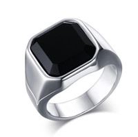 ingrosso disegni anelli freschi per gli uomini-ZHF Jewelry Classic Design Big Black Stone Ring per uomo in acciaio inossidabile Anello uomo freddo punk maschile gioielli Dropshipping