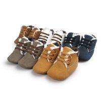 botas de mocasín de invierno al por mayor-Zapatos de bebé Zapatos para niños pequeños Prewalker de invierno Niños Suela blanda Zapatillas de deporte Niños Casual First Walker Warmer Snow Boots 5 colores