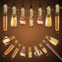 Wholesale vintage lamp sockets resale online - 40W Retro Lamp Edison Bulb ST64 Vintage Socket DIY Rope Pendant E27 Incandescent Bulb V V Holiday Lights Filament Lamp Lampada