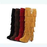 ingrosso stivali metallici della nappa-GOXPACER autunno casual stivali lunghi nappa donna stivali donne scarpe tacco alto punta rotonda femminile scarpe moda plus size fibbia in metallo