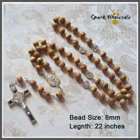Wholesale Pine Beads - 12pcs lot Catholic Natural 8mm Pine Wood Beads Rosary St. Benedict Cross Centerpiece Religious Wooden Rosary Necklace