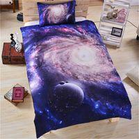 yorgan örtüsü mavi set toptan satış-3D Galaxy moda Yatak Setleri Ay Yıldız Nevresim setleri Yastık Kılıfı Evren Outer Space İkiz Kraliçe Kral Mavi yatak örtüleri