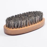 unabhängige waren großhandel-Neue Eber Haar Borste Bart Schnurrbart Pinsel Hart Round Holzgriff AntistatischeNeue Wildschwein Hai Pfirsich Kamm Friseur Werkzeug für Männer